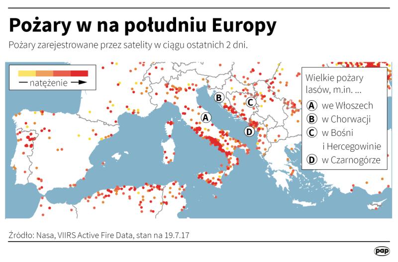 Pożary na południu Europy (Adam Ziemienowicz/PAP/DPA)
