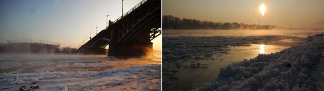 Wisła jak z bajki: para, lód i nadrzeczna mgła
