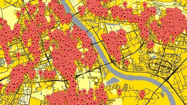 Mapa roszczeń Miasto Jest Nasze / Google Maps