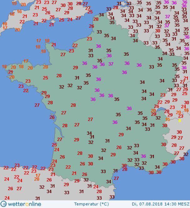 Temperatura powietrza 7 sierpnia 2018 o godz. 14.30 (wetteronline.de)