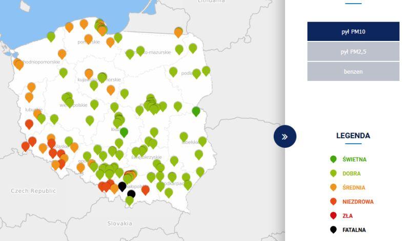 Stężenie pyłów PM10 w środę około 13 (tvnmeteo.pl za GIOŚ)
